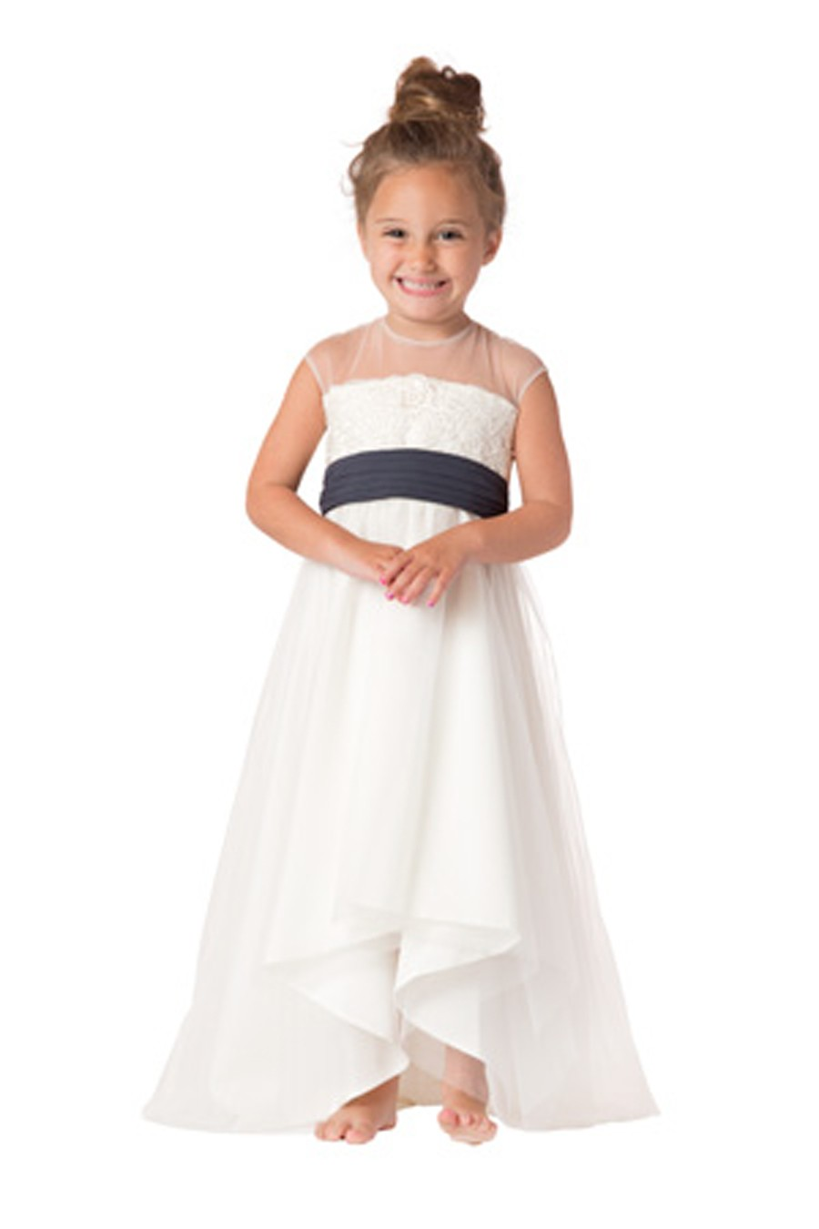 A-Line First Communion Dresses for Girls Satin Flower Girl Dresses for Weddings Long Mother Daughter Dresses With Sashes