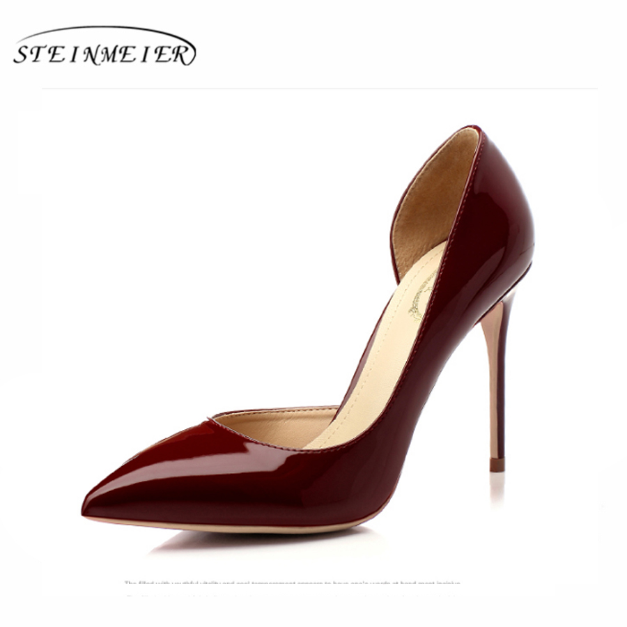 Women <font><b>high</b></font> <font><b>heels</b></font> patent leather <font><b>high</b></font> quality <font><b>sexy</b></font> 10cm <font><b>12cm</b></font> thin <font><b>heel</b></font> pumps point toe us8 pink party wedding women pumps shoes image