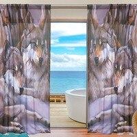זאבים חדר שינה וילונות וילונות שקופים לסלון וילון טול/פנלים אפור הקרנת חלון וילון בעלי החיים