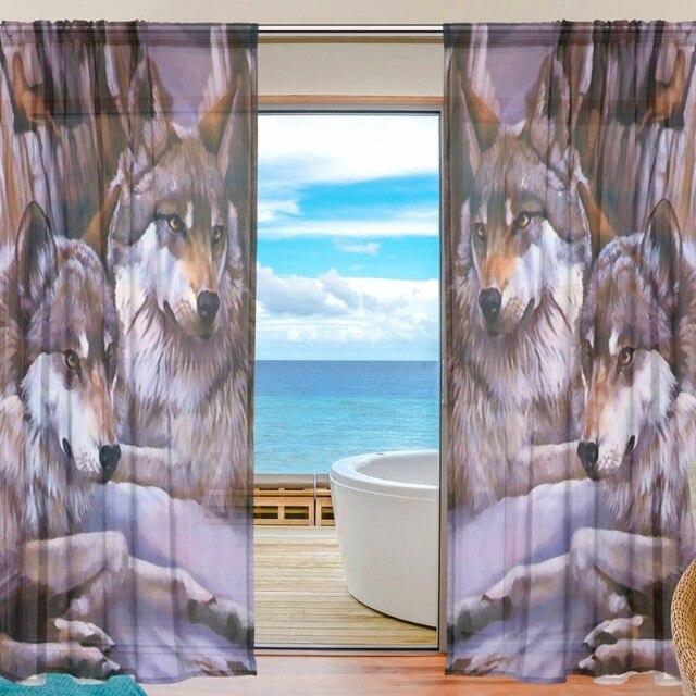 Wölfe Vorhänge Schlafzimmer Gardinen für Wohnzimmer Tüll Vorhang ...