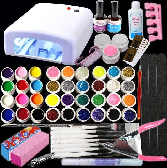 Free Shipping Professional Nail Art Kit Color Uv Gel Full: Aliexpress.com : Buy BTT 141 Free Shipping New Pro 36W UV