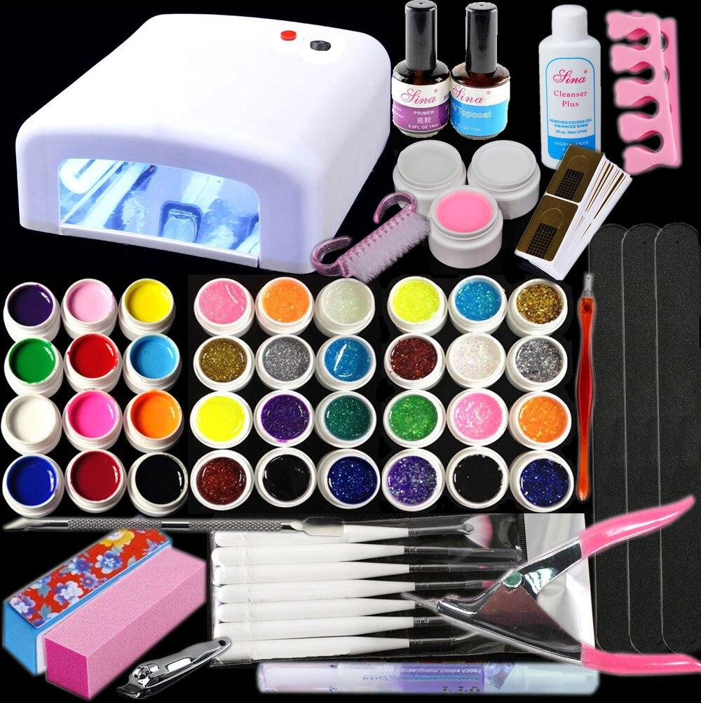 Btt-141 Бесплатная доставка Новые Pro 36 Вт UV GEL Белый лампы и 36 Цвет УФ гель Дизайн ногтей Инструменты Наборы для ухода за кожей Наборы