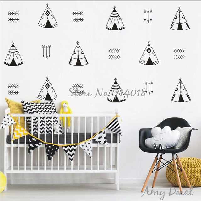 Arrow Tee Wall Decals Nursery Tribal Geometric Tents Decor Vinyl Stickers For Kids Room