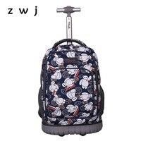 Мультфильм Baymax прокатки багаж дорожная сумка рюкзак тележка для школы тележка чехол вместительные чемоданы с колесами