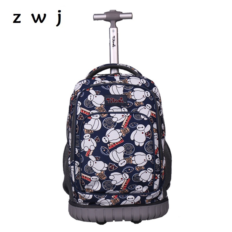 Cartoon Baymax Rolling Luggage Travel bag  School Trolley Backpack Trolley Case Cabin Suitcases with WheelsCartoon Baymax Rolling Luggage Travel bag  School Trolley Backpack Trolley Case Cabin Suitcases with Wheels