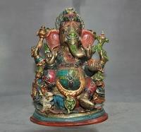 wedding decoration 9 Tibet bronze Inlay turquoise Coral gem 6 Arms Elephant Jambhala Buddha statue