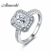 AINUOSHI Women Square Halo Ring SONA Engagement Bijoux Women Wedding Rings luxury Brand jewelry Fine Gifts Accessories Gift