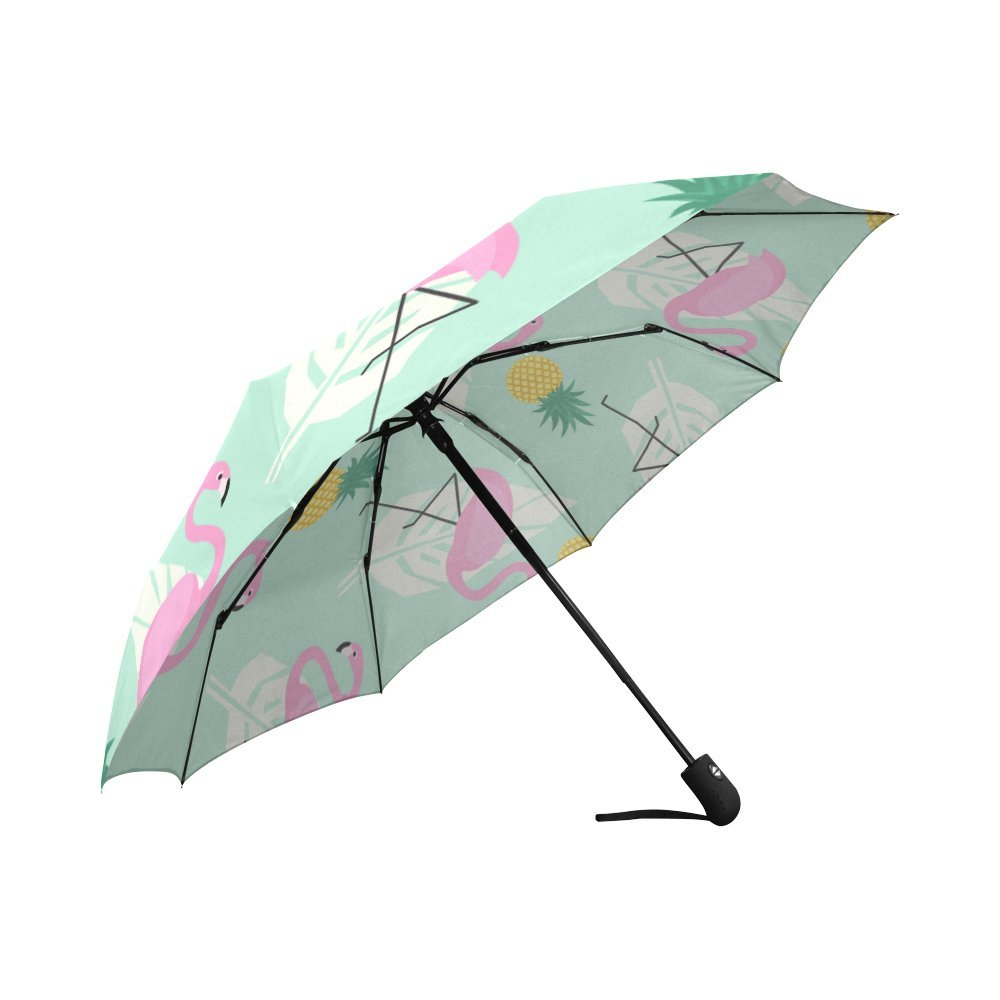 Pink Tropical Flamingo Compact Travel Umbrella Windproof Reinforced Canopy 8 Ribs Umbrella Auto Open And Close Button Personalized