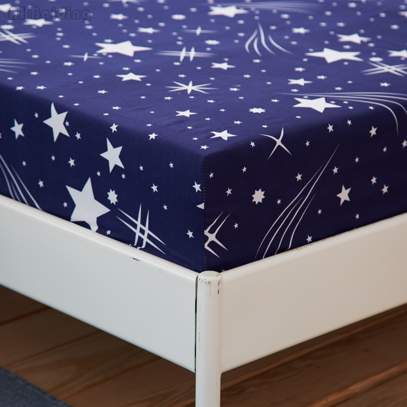 Blue Meteor Shower Bed Sheet Twin Full Queen Polyester Fitted Sheet with Elastic Band Mattress Cover Protector Bed Linen Bedding