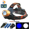 2017 2 x Cree Q5 White Blue Light Fishing Zoomable Headlamp waterproof Head Light Flashlight Use the 18650 rechargeable battery