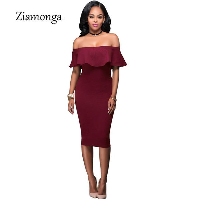 2f5fcbe68e63 Ziamonga 2017 Autumn Burgundy Off The Shoulder Midi Bodycon Dress Sexy  Ruffles Strapless African Women Celebrity