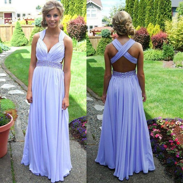 8ea26e1c9af New Arrival Cheap Fashion Cross over Back Long Sexy Lavender Chiffon Prom  Dresses 2017 Formal Evening Dresses