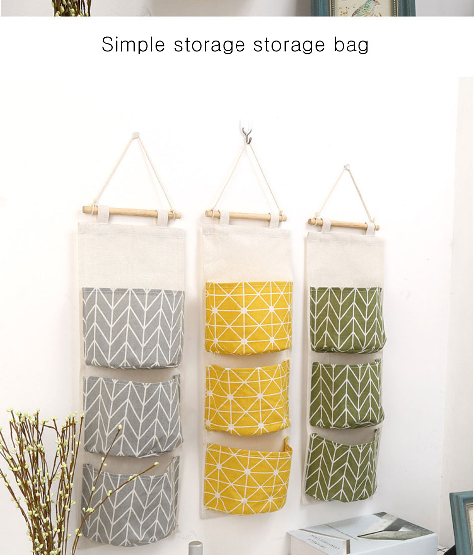 Cute Wall Sundry Cotton Line Hanging Organizer Bag Multi-layer Holder Makeup Rack Jewelry Storage Box Basket Home Decoration (7)