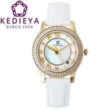 Kedieya Часы Женщины Циркон натуральной кожи алмазная Перл циферблат водонепроницаемый Miyota кварцевые часы женские часы золото красный белый черный часы наручные