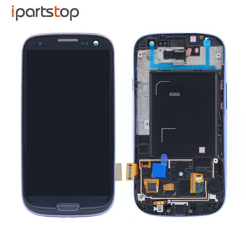 Original Blue White LCD Screen Display Touch Digitizer With Front Frame Bezel Assembly For Samsung Galaxy S3 i9300 i9305 Tested