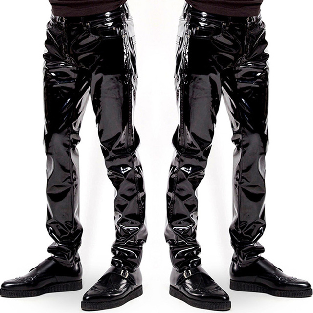 90b19f9b0698db Mens Elastic Faux Leather PVC Pants Motorcycle Ridding Black Slim Fit Dance  Party Trousers Biker Exotic Leather Pants For Male-in Pants from Novelty ...