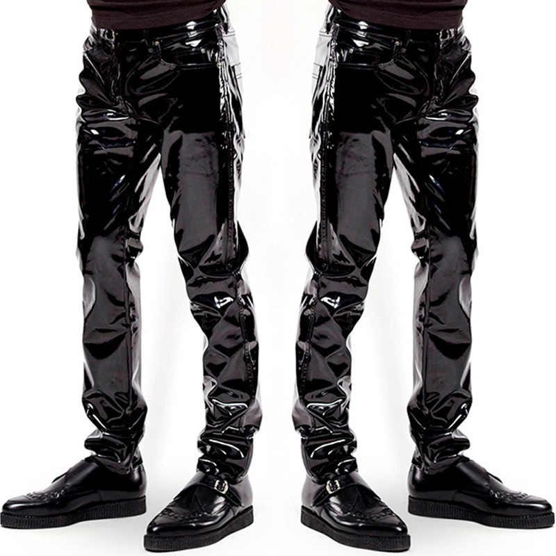 ebf81bcee82fb3 Mens Elastic Faux Leather PVC Pants Motorcycle Ridding Black Slim Fit Dance  Party Trousers Biker Exotic