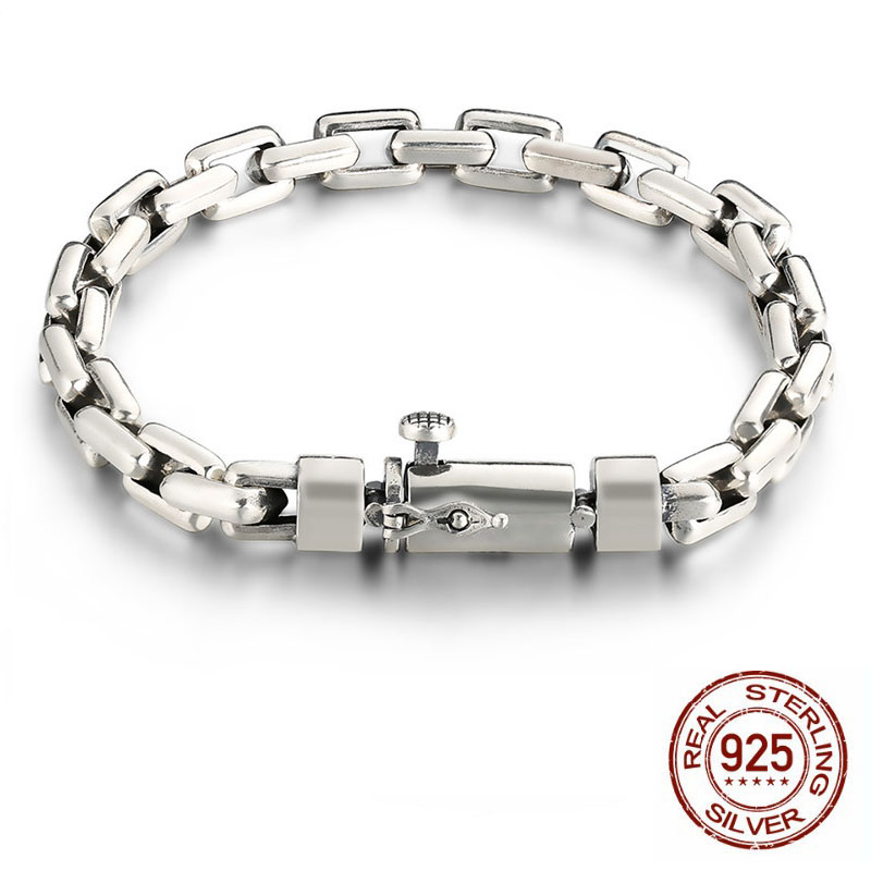 925 Sterling Silver Men Bracelets armband heren Width 6mm/8mm Classic Vintage Thai Silver Men's Heavy Bracelet bracciale uomo 8mm wide 20cm 925 sterling silver vintage heavy chinese dragon body bracelet men thai silver gift jewelry ch058041