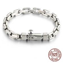 925 Sterling Silver Men Bracelets armband heren Width 6mm/8mm Classic Vintage Thai Mens Heavy Bracelet bracciale uomo