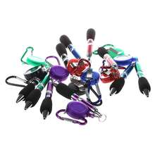 Retractable Reel Ball Pen with Belt Clip and Snap Hook 10pcs (Random Color) convenient retractable buckle strap with clip color assorted
