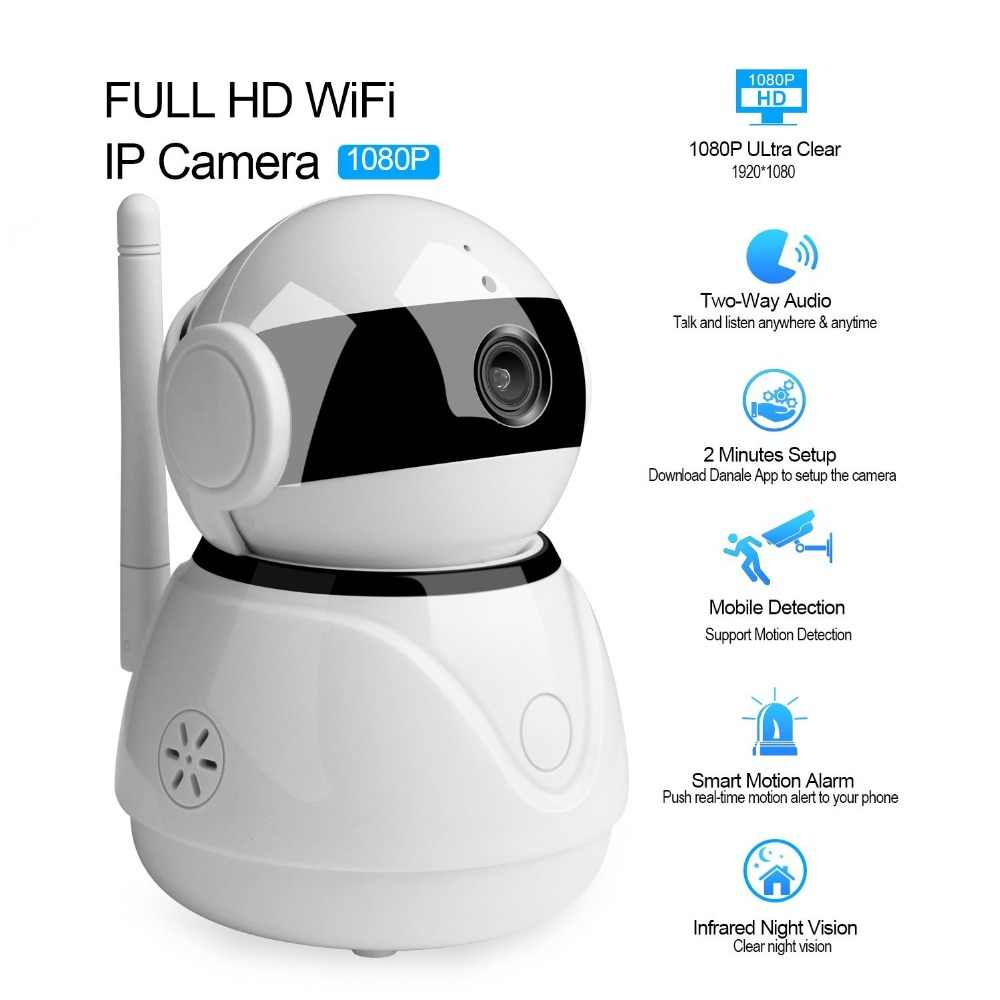 BESDER Smart WiFi 1080P IP Camera Home Security Baby monitor Camera Work  With Amazon Echo Dot Google Assistant Two Way Audio