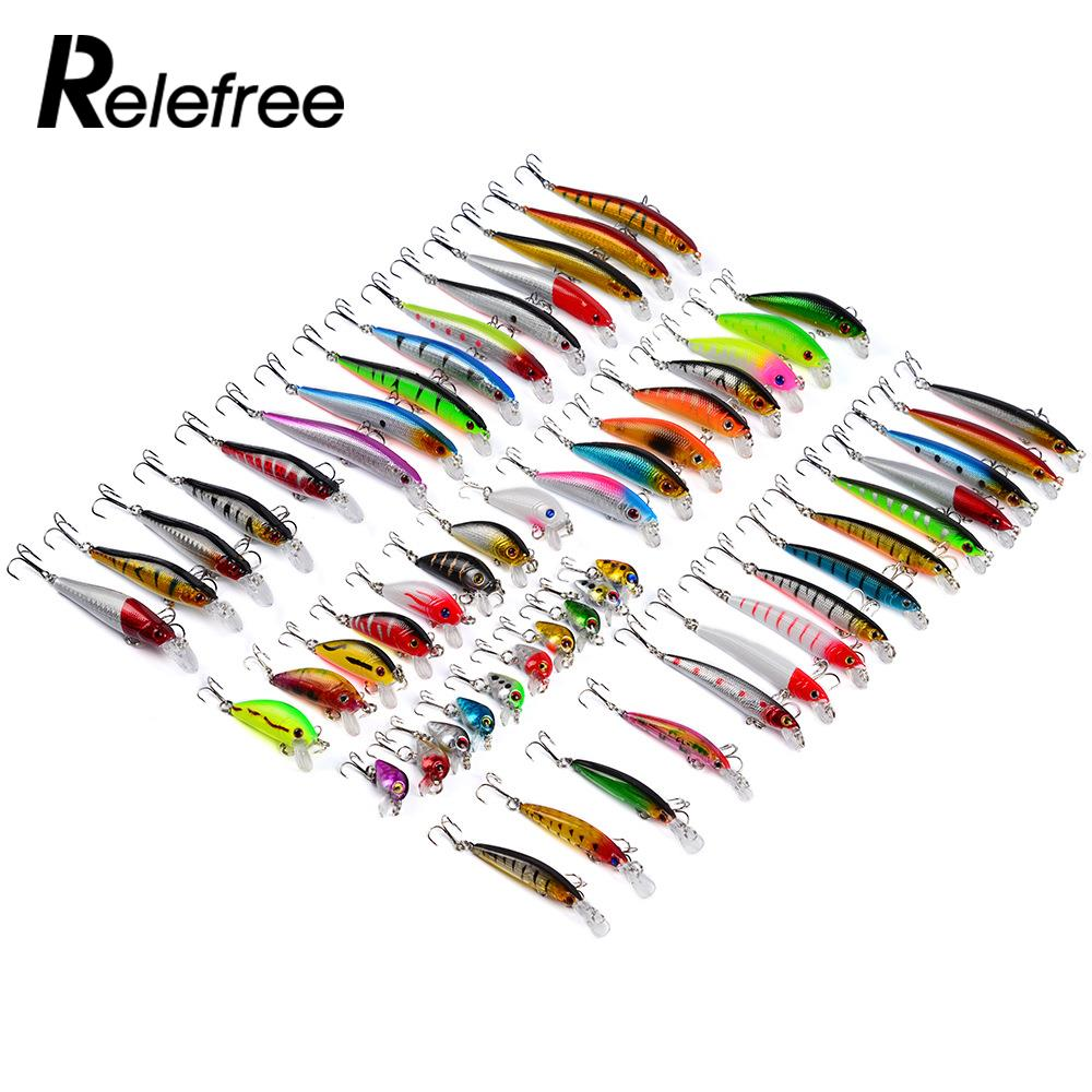 Relefree 56pcs/set Mixed Fishing Minnow Lures Artificial Fish Crank Bait Treble Hook anime assassination classroom cosplay fashion casual men and women travel bags birthday gift