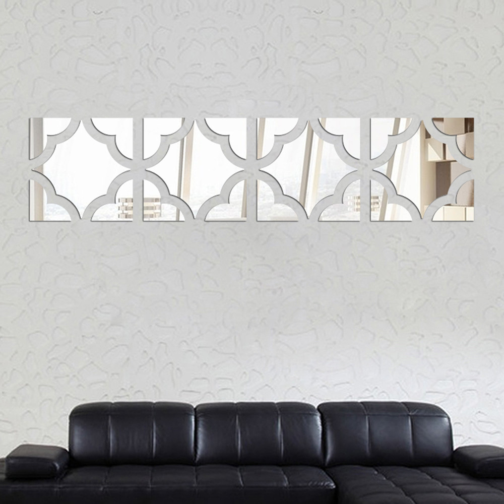 Hot selling crystal shape abstract 3d mirror wall stickers bedroom living room sofa wall ...