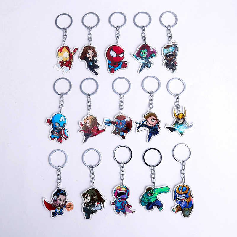 Marvel Keychain Avengers Endgame Jewelry Iron Man Captain America Spiderman Keychains For Women Men Cute Superhero Keyring Gifts
