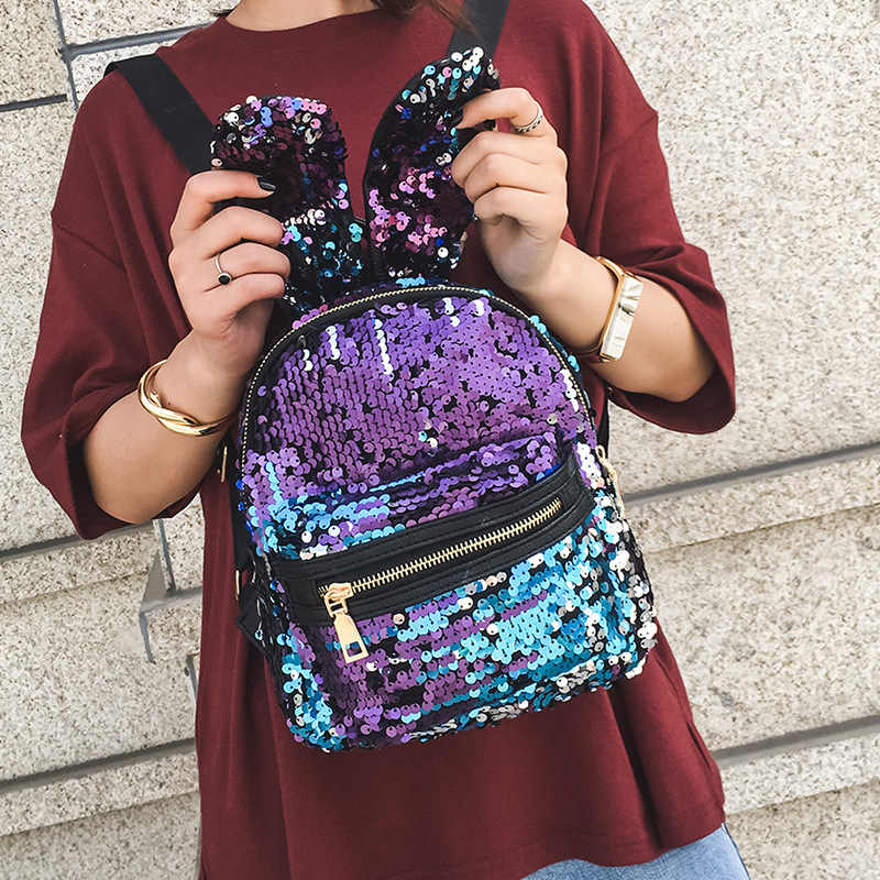 20418 Fashion Gadis Payet Ransel Wanita Ransel Hip-Hop Gaya Kualitas Tinggi Mini Ransel untuk Remaja Bling Ransel Perjalanan