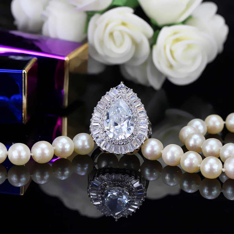 CWWZircons ยี่ห้อ Luxury Water Drop Cubic Zirconia หินเปิดแหวนผู้หญิง Party เครื่องประดับ R095