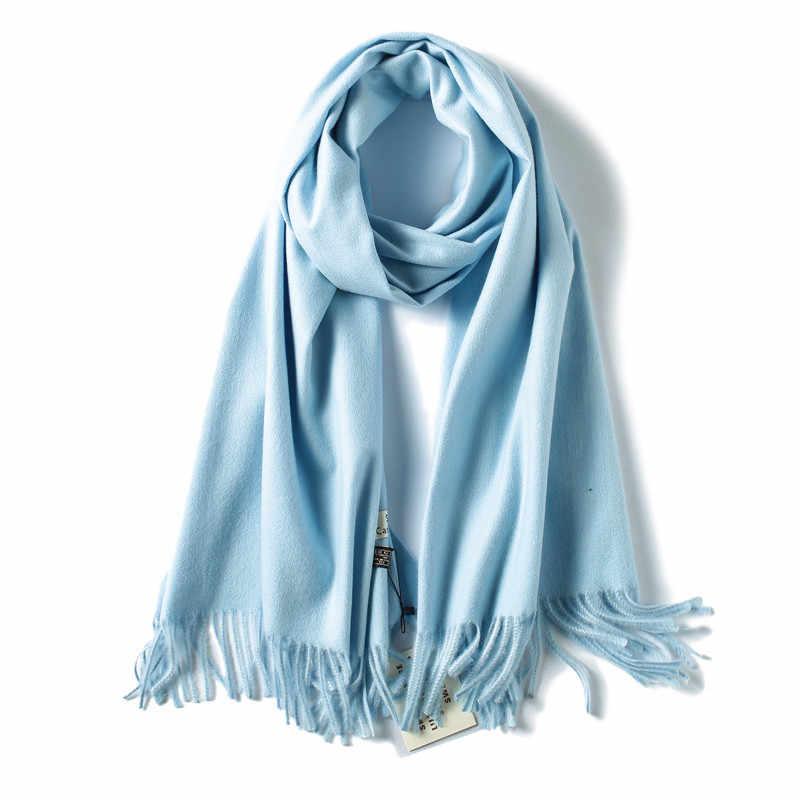Bufanda de invierno soild de marca 2019 bufandas gruesas cálidas para mujer chales de Cachemira y abrigos de lana de pashmina de calidad echarpe para señora bandana