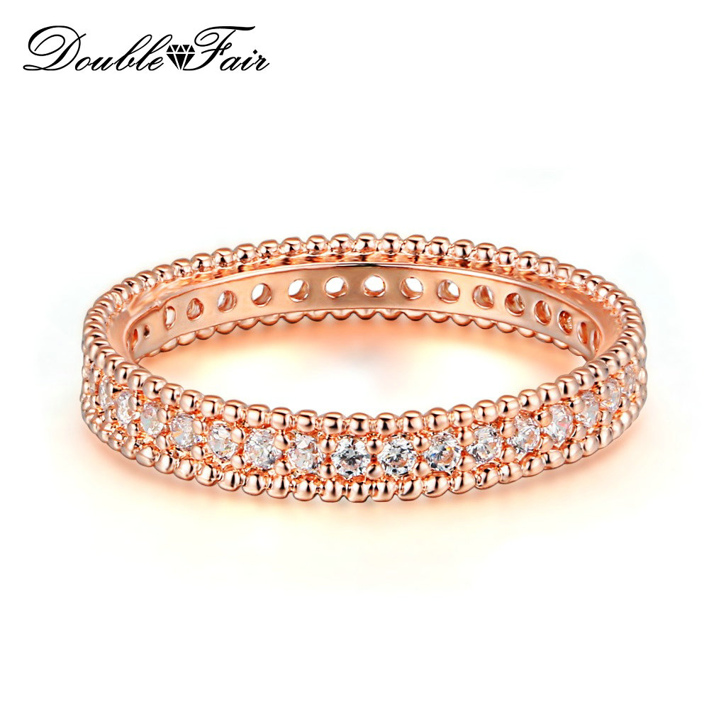 Double Fair Classic Wedding &Engagement AAA+ Cubic Zirconia Ring Rose Gold Color Fashion Cubic Zriconia Jewelry For Women DFR490