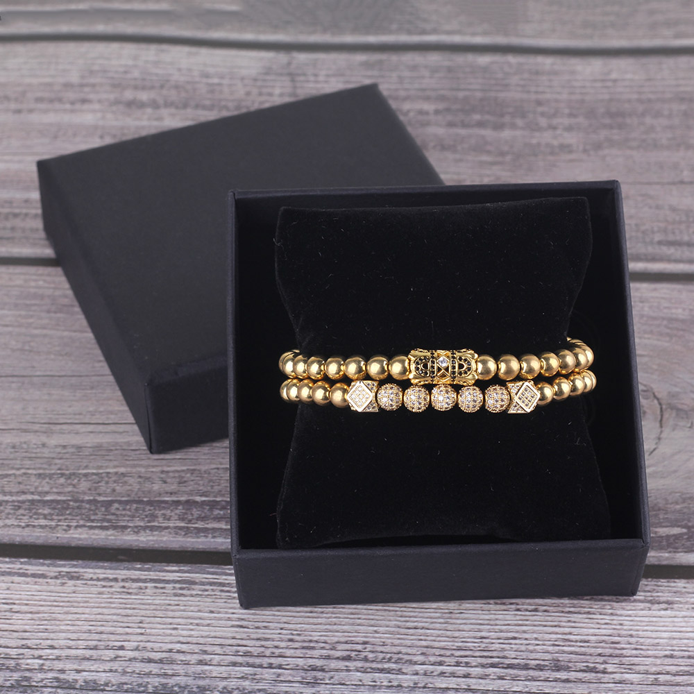 2pcs set Fashion Luxury men Bracelet Stacks CZ ball Gold Charm bead Macrame Bracelets Bangles for Men Jewelry accessories in Wrap Bracelets from Jewelry Accessories