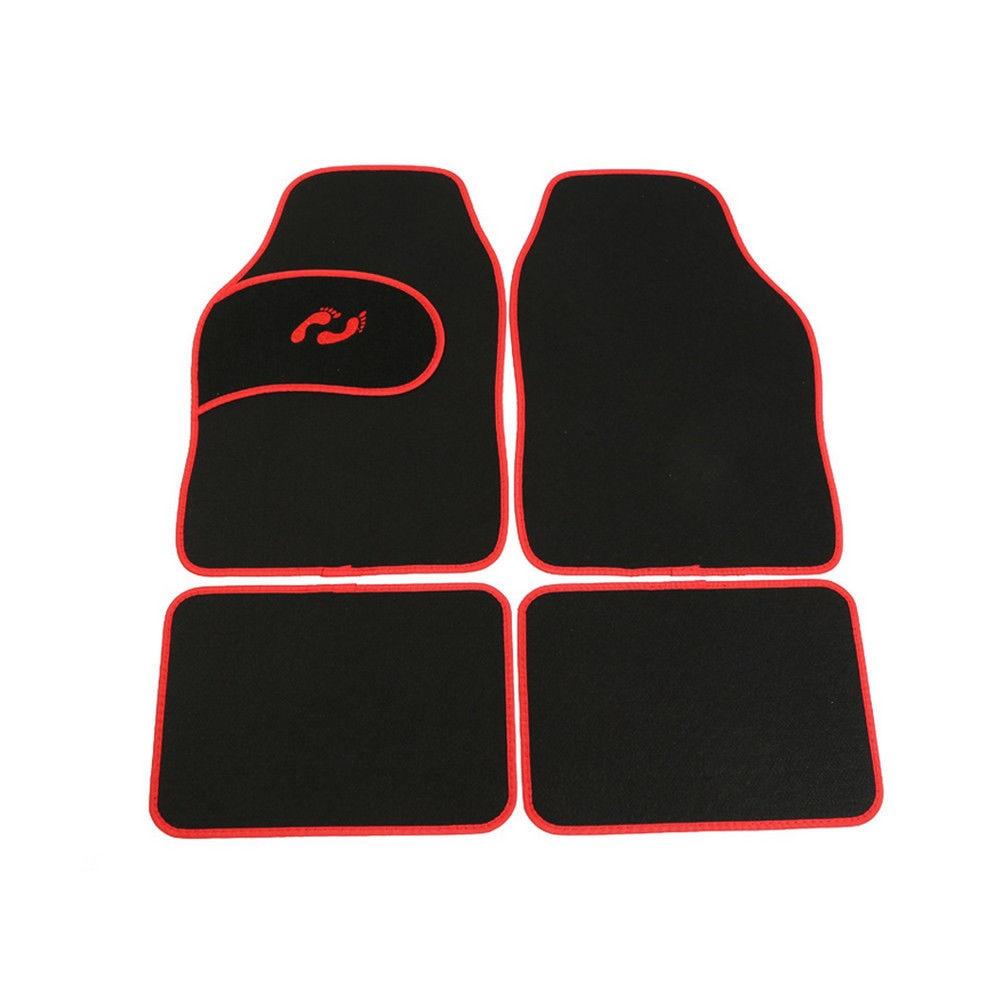 4 pc ensemble complet tapis de sol tapis adaptés pour voiture universelle SUV Van conducteur et passager siège rouge/noir