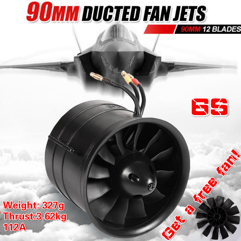 FMS 90mm 12 Blades Ducted Fan EDF With 3546 KV1900 Motor Engine Jet Power System 6S For RC Airplane Aircraft Model Plane Parts image