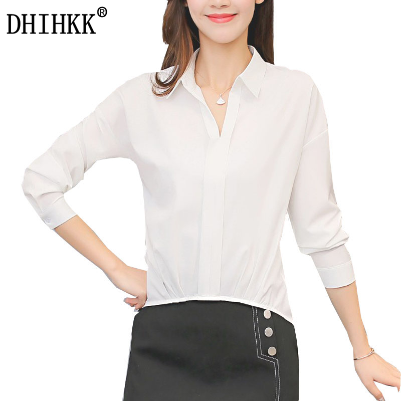 DHIHKK Official Store DHIHKK 2017 Formal White Women Blouse Ladies Turn-down Collar  Blouses Batwing Sleeve OL Office Shirts All-match Tops Blusas