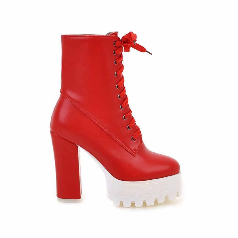 עקב גבוהה תחרה עד מגפי אופנה פלטפורמת קרסול מגפי נשים סתיו חורף גבירותיי נעלי לבן שחור אדום 2018 Dropshipping