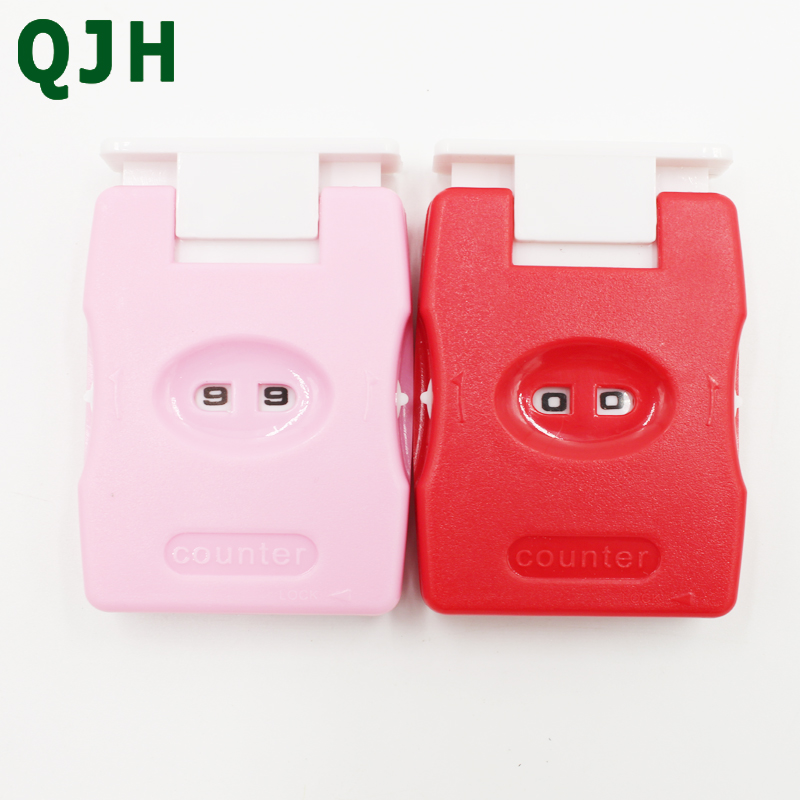 QJH Brand Practical 1pcs Red And Pink ABS Button Knitting Counter Crafts Weaving Knitting Number Marker Tools