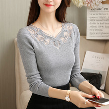 Sexy V-neck Knitted Sweater Women Casual Long Sleev Lace Patchwork Pullover Female Autumn Winter Jumper v neck zipper choker jumper