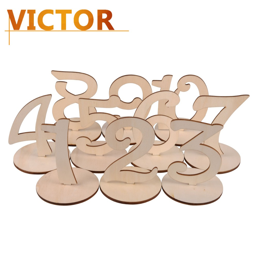 1-10 9.6CM Wooden Table Numbers Sign brand card Wedding Decoration with Holder Base Birthday DecorationsParty Festive Supplies