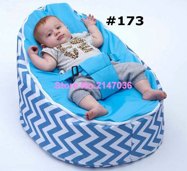 Latest fashion design baby bean bag chair, Blue chevron kids sofa beanbag seat - 6 styles. functional children portable beds latest styles autumn