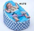 Mais recente moda cadeira do saco de feijão do bebê do projeto, azul chevron crianças sofá beanbag cadeira-6 estilos. camas de crianças multi-funcional portátil