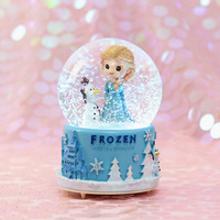 Frozen Elsa Crystal Ball Music Box Snow Ball with Automatic Snowflake Carousel Music Box Birthday Gift for Girlfriend Home Decor