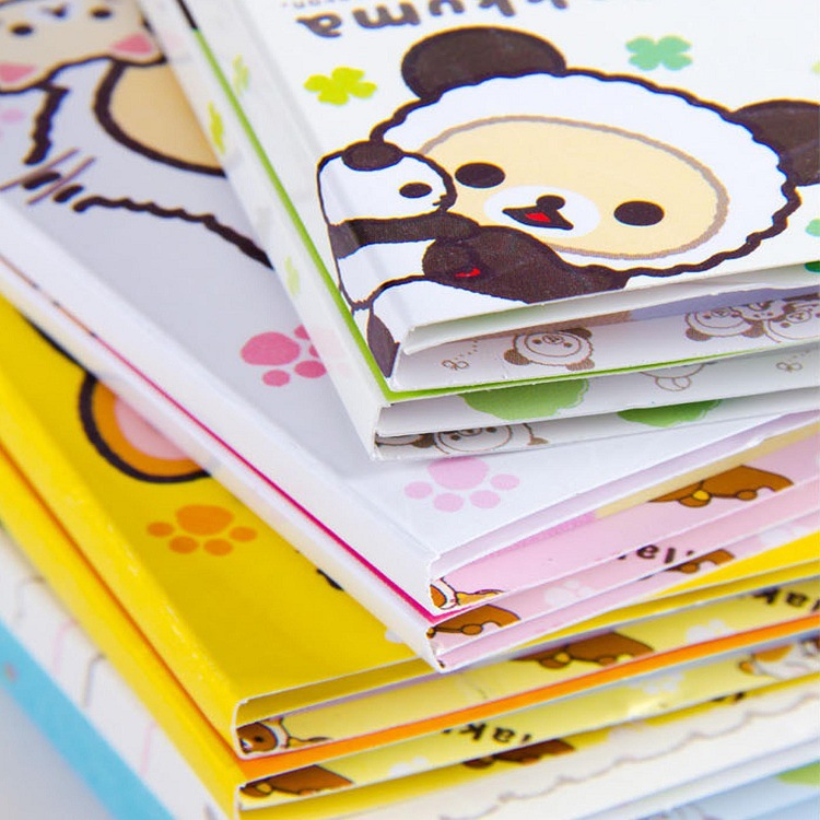 12 pcs/lot Cartoon Rilakkuma Hat 6 Folding Memo Pad N Times Sticky Notes Memo Notepad Bookmark Gift StationeryMemo Pads   -