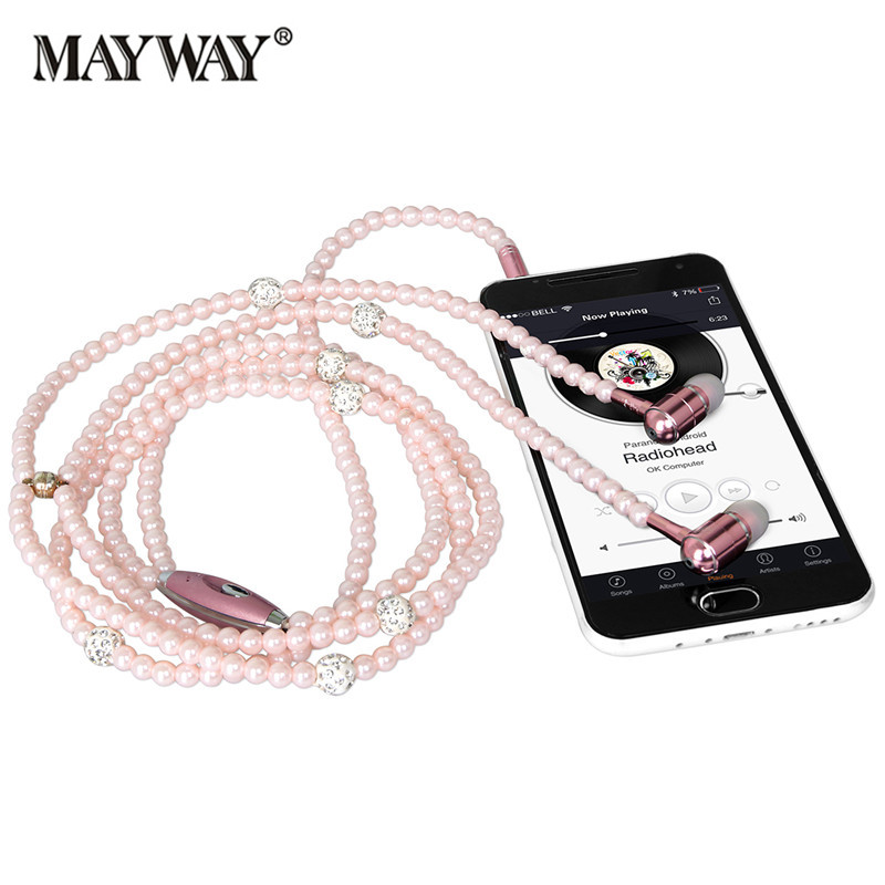 Fashion <font><b>Earphones</b></font> Lady Woman Beads Necklace Chain Pearl <font><b>Earphone</b></font> with Microphone Stereo In-ear for Xiaomi iPhone samsung
