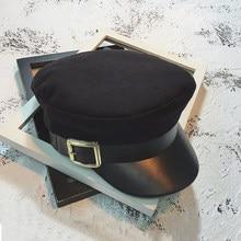 Nuevo sombrero mujeres moda negro Newsboy Caps Otoño Invierno lana sombrero  militar octogonal sombreros Gorras caps de la mujer . 559262ec7be
