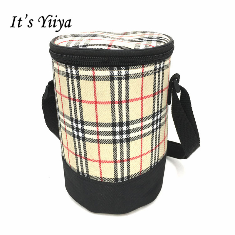 Its Yiiya 2017 Popular Insulated Picnic Cooler Bag Fashion Plaid cylinder Lunch Bag Portable Thermal Bags for Food BW029