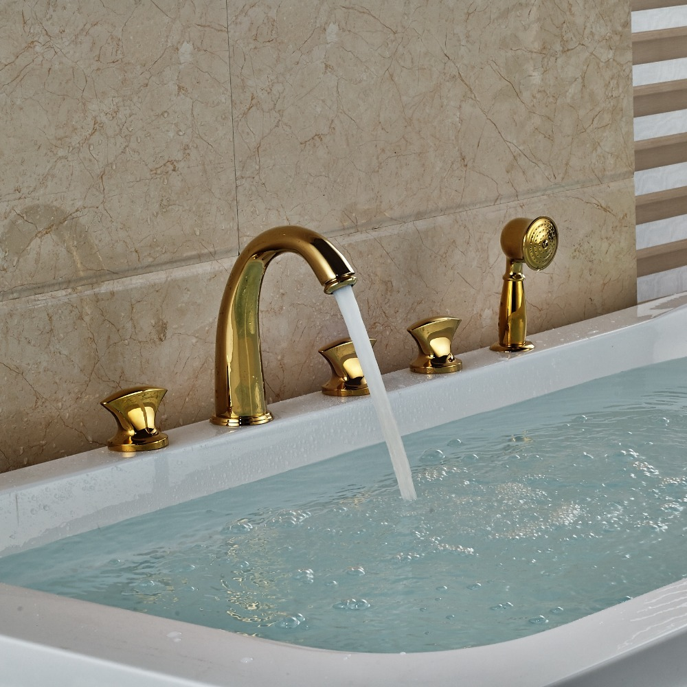 Multi-style Golden Brass Widespread 5pcs Bathroom Tub Faucet Three Handles Bathtub Faucet a033 olive branch style brass bookmark golden