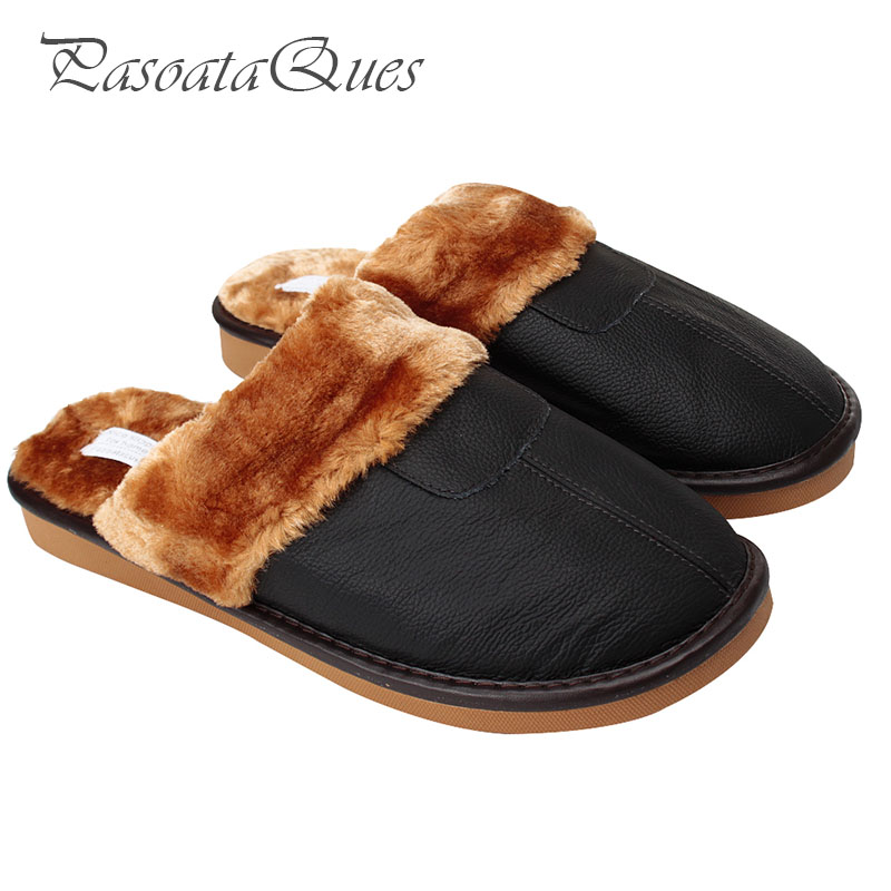 61708b22f090 Real Leather Autumn Winter Men Women Shoes Faux Fur Indoor Househome  Breathable Slippers Pasoataques Brand Asspfle094-in Slippers from Shoes on  ...