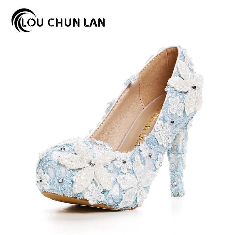 Women Pumps ShoesWomen Pumps Beautiful blue lace Shoes bride shoes high heel waterproof table wedding shoes dress shoes beautiful darkness